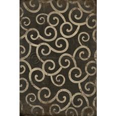 Black Swirl Pattern Vinyl Floor Cloth