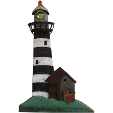 Lighthouse Blk Wooden Plaque
