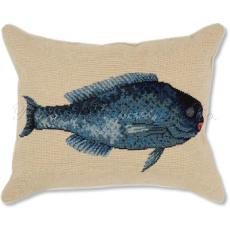 Blue Fish 2 Needlepoint Pillow
