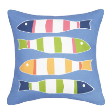 Picket Fish Blue Print Pillow