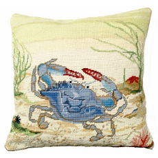 "Blue Crab 18"" Needlepoint Pillow"