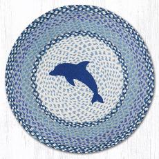 Blue Dolphin Round Coastal Rug