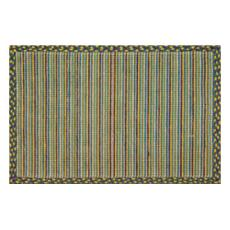 Blue & Gold Mums Wicker Weave Rug