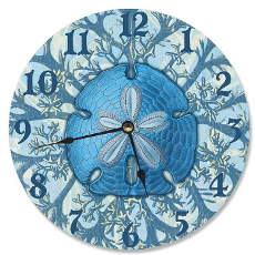 Blue Sand Dollar and Coral Clock