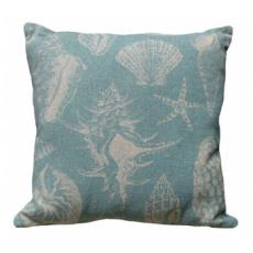 Seashell Aqua Linen Pillow