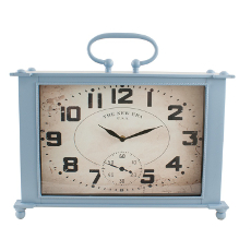 Blue Square Metal Clock