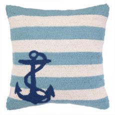 Small Anchor On Blue Stripe Hook Pillow