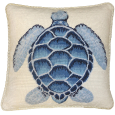 Blue Turtle Needlepoint Pillow