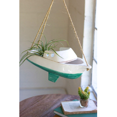 Hanging Ceramic Sailboat Planter