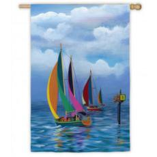 Kaleidoscope Sailboats Garden Flag