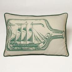 Ship In A Bottle Nautical Pillow