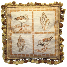 Stone Shells And Birds Needlepoint Pillow