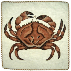 Brown Crab Needlepoint Pillow