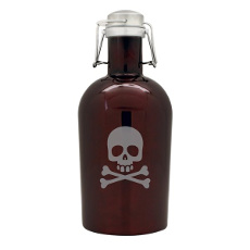 Pirate Brown Skull Beer Growler Bottle 64 Oz