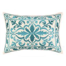 Buckingham Aqua Marine Embroidered Pillow