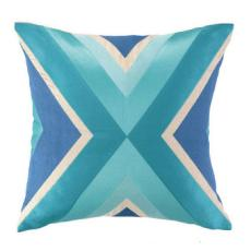 Bulding Blue Embroidered Pillow