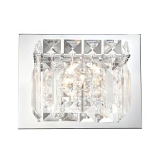 Crown 1 Light Vanity In Chrome And Clear Crystal Glass
