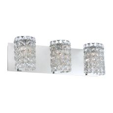 Queen 3 Light Vanity In Chrome And Clear Crystal Glass