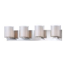Combo 4 Light Vanity In Chrome And Clear Stromboli Outer Glass With White Opal Inner Glass
