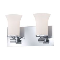 Flare 2 Light Vanity In Chrome And White Opal Glass