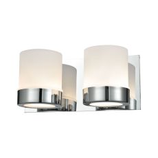 Mulholland 2 Light Vanity In Chrome And Opal Glass
