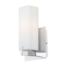 Moderno 1 Light Sconce In Chrome And White Opal Glass