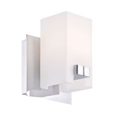 Gemelo 1 Light Vanity In Chrome And White Opal Glass