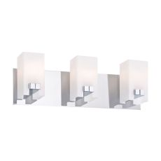 Gemelo 3 Light Vanity In Chrome And White Opal Glass
