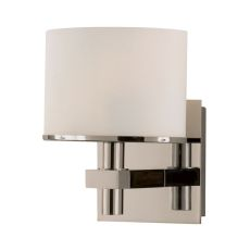 Ombra 1 Light Vanity In Satin Nickel And White Opal Glass