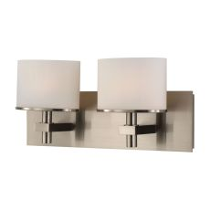 Ombra 2 Light Vanity In Satin Nickel And White Opal Glass
