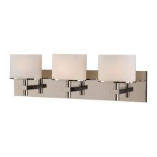 Ombra 3 Light Vanity In Satin Nickel And White Opal Glass