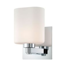 Embro 1 Light Vanity In Chrome And Oval White Opal Glass
