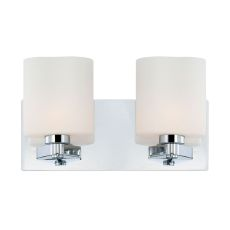 Embro 2 Light Vanity In Chrome And Oval White Opal Glass