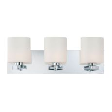 Embro 3 Light Vanity In Chrome And Oval White Opal Glass