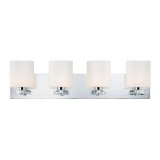 Embro 4 Light Vanity In Chrome And Oval White Opal Glass