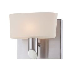 Toby 1 Light Vanity In Satin Nickel And White Opal Glass