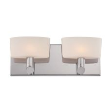 Toby 2 Light Vanity In Satin Nickel And White Opal Glass