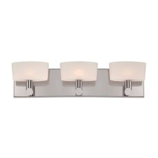 Toby 3 Light Vanity In Satin Nickel And White Opal Glass
