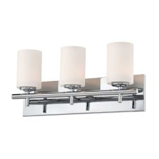 Barro 3 Light Vanity In Chrome And White Opal Glass