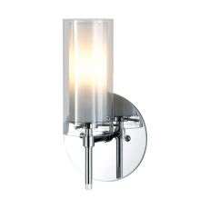 Tubolaire 1 Light Sconce In Chrome With Clear Outer Glass And Frosted Interior Glass