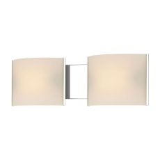Pannelli 2 Light Vanity In Chrome And Hand-Moulded White Opal Glass