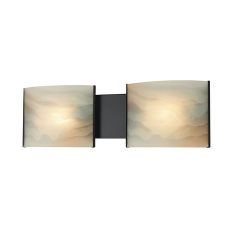 Pannelli 2 Light Vanity In Oil Rubbed Bronze And Hand-Moulded Honey Alabaster Glass