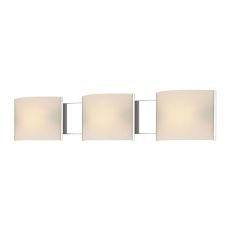 Pannelli 3 Light Vanity In Chrome And Hand-Moulded White Opal Glass