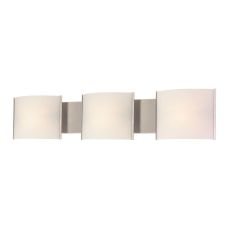 Pannelli 3 Light Vanity In Stainless Steel And Hand-Moulded White Opal Glass
