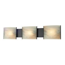 Pannelli 3 Light Vanity In Oil Rubbed Bronze And Hand-Moulded Honey Alabaster Glass
