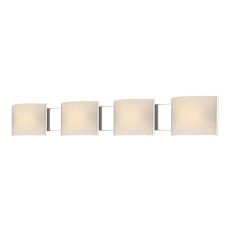 Pannelli 4 Light Vanity In Chrome And Hand-Moulded White Opal Glass