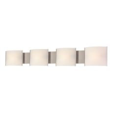 Pannelli 4 Light Vanity In Stainless Steel And Hand-Moulded White Opal Glass