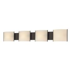Pannelli 4 Light Vanity In Oil Rubbed Bronze And Hand-Moulded White Opal Glass