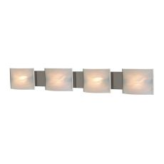 Pannelli 4 Light Vanity In Stainless Steel And Hand-Moulded White Alabaster Glass