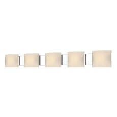 Pannelli 5 Light Vanity In Chrome And Hand-Moulded White Opal Glass